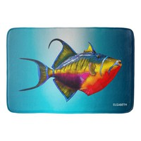 Psychedelic Colorful Triggerfish Fish Drawing Bath Mat