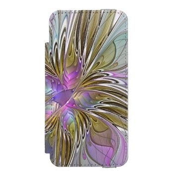 Floral abstract and colorful Fractal Art Wallet Case For iPhone SE/5/5s