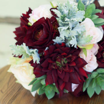 Succulent Plum Burgundy Silk Bridal Bouquet with Dahlias