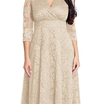 Women's Lace Plus Size Mother of the Bride Skater Dress Bridal Wedding Party