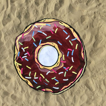 Large Round Beach Towel, Round Pizza Beach Towel, Circular Donut Beach Towel, Round Donut Towel, Large Beach Towel