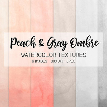 Peach Watercolor Ombre Digital Paper. Handpainted Blush, Gray Watercolor Textures. Nude Watercolor Logo, Wedding Invitation, Card Background
