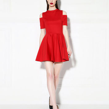 Red Short Sleeve High Waist Dress