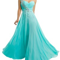 Harshori a Line One Shoulder Long Chiffon Prom Dress with Crystals