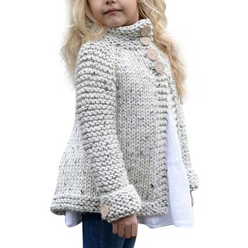 Toddler And Junior Girls Gray Single Breasted Wool Sweater Cardigan