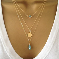 3 Gold Layering Necklaces