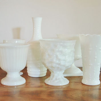 Milk Glass Collection, Set of 6, Milk Glass Planters, Compotes, Vases, Bottle Wedding Table Decor, Shabby Chic White Glass Vases