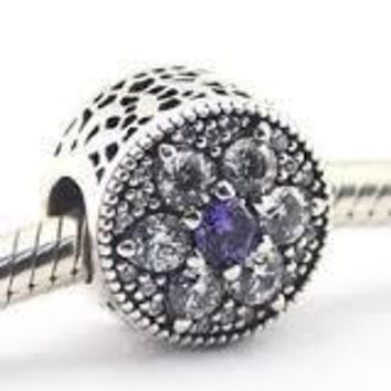 Pandora Charms Authentic Forget Me Not Charm Bead Purple & Clear CZ