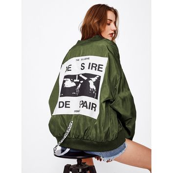 Patch Over-sized Bomber Jacket