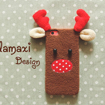 Handmade Reindeer Phone Case, Christmas Reindeer iPhone Case, Fleece Reindeer Case for iPhone 4/4S/5/5S/5C, Custom Phone Case, ChristmasGift