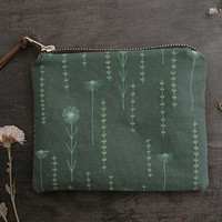 Metal Zipper Storage Pouch - Exclusive Own Illustrated Fabric Design - Field of Flowers