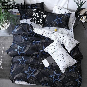 Cool Solstice Home Textile King Queen Twin Bed Linens Black Shooting Star Duvet Cover Sheet Pillowcase Boy Kid Teen Girl Bedding SetsAT_93_12