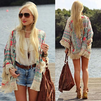 Womens Summer Blouse Sexy Floral Shirt Loose Kimono Cardigan Casual Jacket Tops = 5709656577
