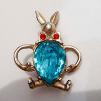 Vintage Gold Toned White Rabbit with Sapphire Belly and Ruby Tie Alice in Wonderland