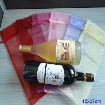 "Pack of 100 Wine Bottle Gift Bag 15 X 35 cm ( 6"" x 13.75"" ) - Birthday Party, Wedding Favor"