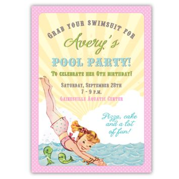 Retro Pool Party Invitations (A)