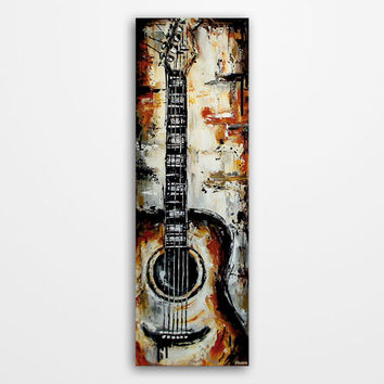 Guitar painting, Acoustic Guitar art, Music art, Original orange, brown, gray, white, black rustic guitar painting on 36x12 inch canvas