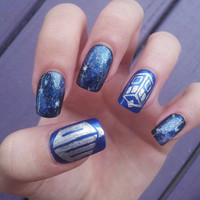 Doctor Who galaxy tardis handpainted fake nails