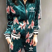 """Adidas"" Women Fashion Flower Print Multicolor Stripe Velvet Cardigan Long Sleeve Trousers Set Two-Piece Sportswear"