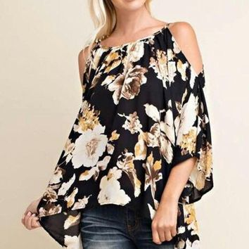 LMFONHS Summer New Arrival Vintage Women's Off-The-Shoulder Blouse Top Chiffon Floral Shirts With Three-Quarter Butterfly Sleeves