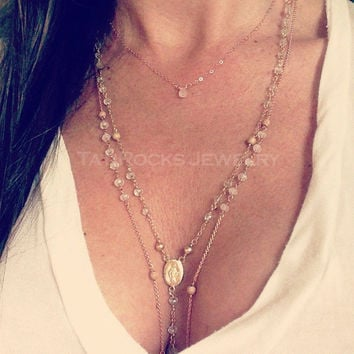 First Love Necklace, Moonstone Necklace, Rose Gold Necklace,