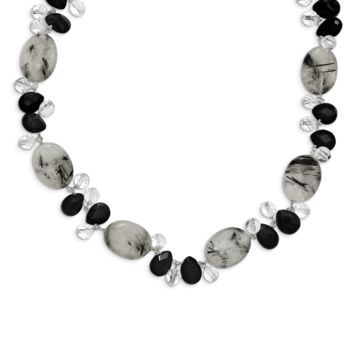 Sterling Silver Tourmalinated Quartz/Black Agate/Clear Quartz Necklace QH2530