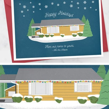 Custom Christmas Card with House Illustration - Merry Christmas Card - Modern Holiday Card  - Printable Christmas Cards