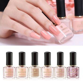 BORN PRETTY 6ml Pink Nude Pure Color Nail Polish Glitter Sequins Rose Gold Series Nail Lacquer Shinny Manicure Art Varnish