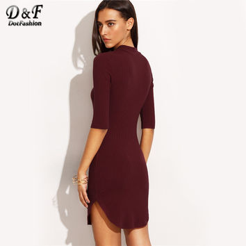 Burgundy High Neck Dolphin Hem Half Sleeve Sheath Mini Dress 2017 Fall Sexy Plain Bodycon Short Dress