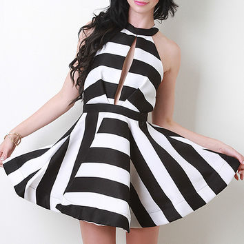 Keyhole Halter Skater Dress