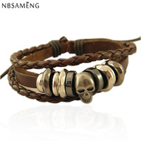 Vintage Braided Leather Bracelet Bangle Punk Rock Skull Wristband For Men Bracelets Gift