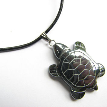 Mens Hematite Necklace, Turtle Hematite Jewelry, Leather Pendant Necklace