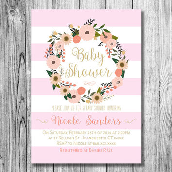 Baby Shower Girl Invitation Baby Girl Pink Gold Personalized Invite Pastel Colors Flower Wreath Lines (PRINTABLE File Download Custom Order)