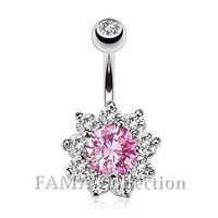 Beautiful FAMA Flower Multi CZ Prong Set Navel Belly Ring 316L Surgical Steel