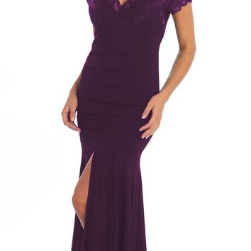 CLEARANCE - Lace V Neck Plum ITY Stretch Semi Formal Dress Tea Length Open Slit (Size 2XL)
