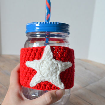 Patriotic Tumbler Cozy, Red White and Blue, Mason Jar Cozy, Summer Drink Cup, Fourth of July, Drinking Glass, Mason Jar Tumbler