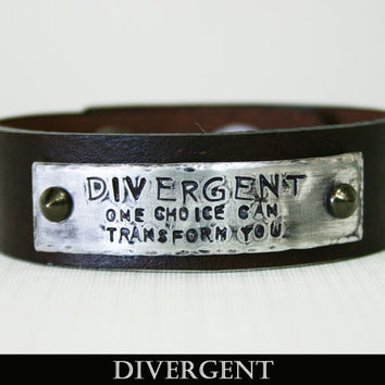 "Divergent Inspired - ""Divergent - One Choice Can Transform You"" Handmade Leather Bracelet"
