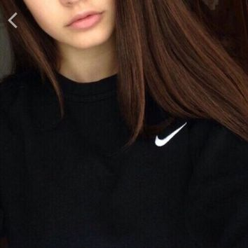 """Nike"" Popular Women Loose Embroidery Logo Long Sleeve Sweater Pullover Top Sweatshirt I"