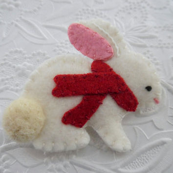 Winter Felt Bunny Brooch Felted Wool Scarf Red Coat Pin Primitive