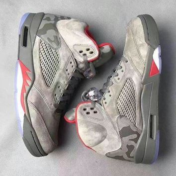 air jordan retro 5 camo men basketball shoes camouflage trophy room 5s v grey red fash  number 1