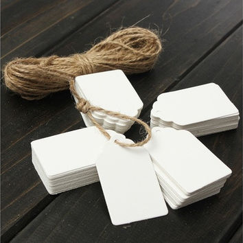 100PCS DIY Kraft Brown/White 2 Colours Wedding/Bonbonniere/Gift Party/Label Mini Paper Tags(White,Sand) [7981650055]