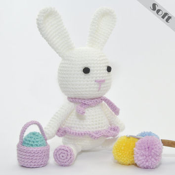 Bunny Soft Toy With Her Mini Easter Basket & Egg (Easter, Birthday or Baby Shower Gift) Crochet, Amigurumi
