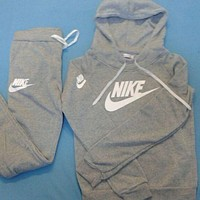 Nike:Sleeve Shirt Sweater Pants Sweatpants Set Two-Piece Sportswear