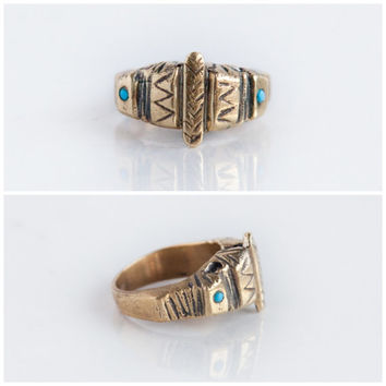 FREE SHIPPING - Aztec turquoise stones gold ring boho gypsy style made in solid bronze