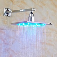 "Contemporary Bathroom Shower Head 8"" LED Rainfall Shower Head with Shower Arm Chrome Polished"
