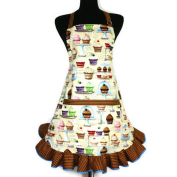 Cupcake Apron , Retro Bakery Decor , Adjustable with Pocket and Chocolate Ruffle