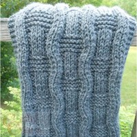 Oxford Grey Hand Knit Wavy Scarf | cathycreates.net