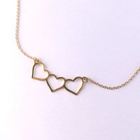 Three Banner Heart Necklace in Gold with Delicate Chain