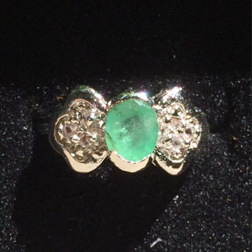 Vintage Emerald and Topaz Ring. Engagement Ring. GLA Certified.  Center Stone 0.52.  May Birthstone. Gift for Her. ***Layaway Available****