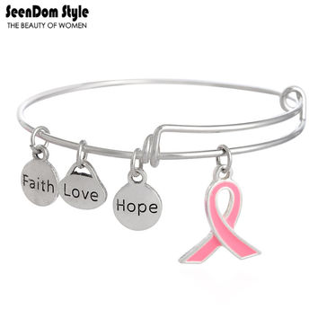 Antique Silver Enamel Pink Ribbon Dangle Faith Love Hope Charms Alex Style Bracelet